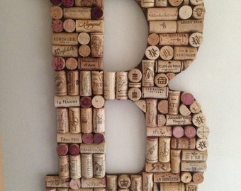 unique letters and symbols made of wine corks
