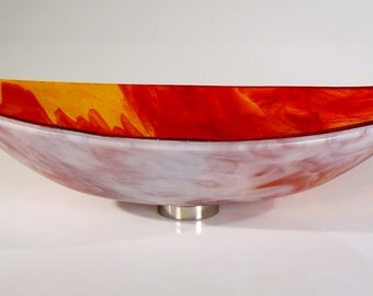 Firey Oval Sink:  fire orange red oval hand crafted sit-on-top glass sink