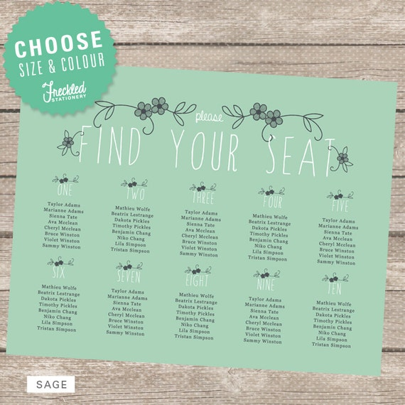 Printable Seating Chart For Wedding Reception: Items Similar To Wedding Seating Chart