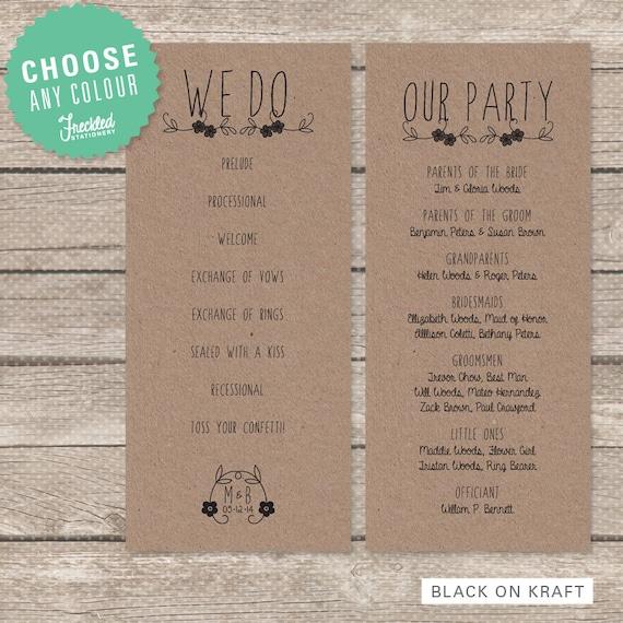 Wedding Program Printable PDF Rustic Floral