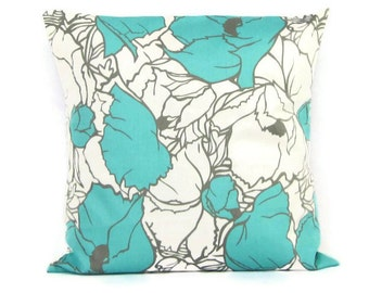 Aquamarine Gray Floral Pillow Cover Decorative Throw Accent Sofa 16x16 18x18 20x20 22x22 12x14 12x16 12x18 12x20 14x22 Zipper Aqua