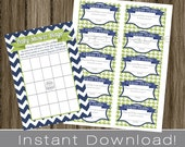 Baby Shower Bingo Game Cards and Diaper Raffle Tickets navy blue chevron and green INSTANT DOWNLOAD diy digital printable file , babyshower