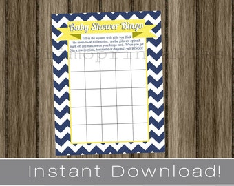 Baby Shower Bingo Game Cards navy blue chevron and yellow INSTANT DOWNLOAD diy digital printable file print your own , babyshower activity