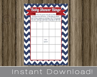 Baby Shower Bingo Game Cards navy blue chevron and red INSTANT DOWNLOAD diy digital printable file print your own , july babyshower idea