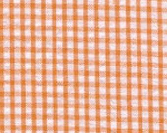 Orange and White Check Fabric Finders Seersucker