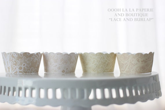 Lace and Burlap Cupcake Wrappers- Set of 12