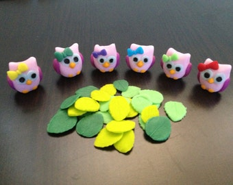 Little owls and veined leaves edible cupcake fondant cake decorations cute birthday baby shower