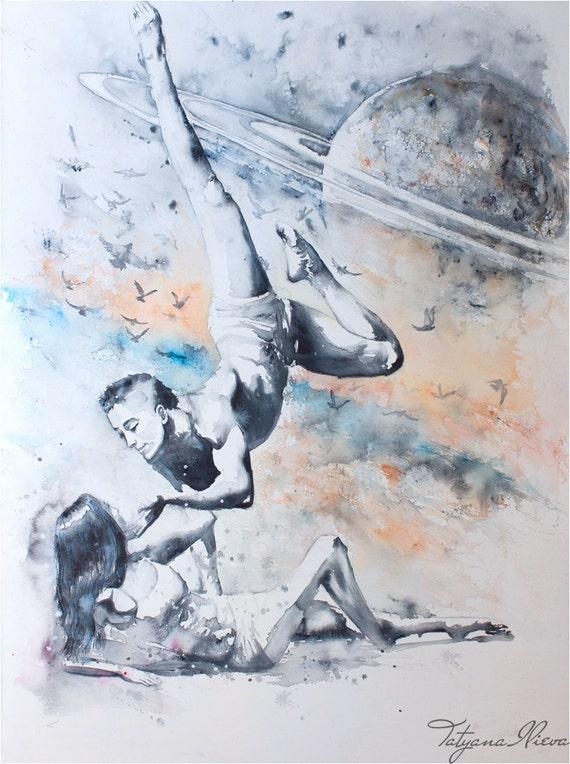 "Original Watercolor Painting -""Infinity"". Portrait of ballet dancers and birds in space."