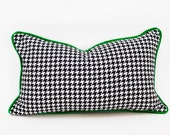 """Houndstooth Lumbar Pillow Cover - 12"""" x 20"""" Black and White with Emerald Green Velvet Piping"""