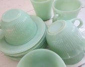 "SALE, TREASURY ITEM, Vintage Jadeite, Collection of Thirteen Items, Fire King, ""Alice"",  ""Jane Ray"", Diner Mugs, Tea Cups and Saucers - Bingville"