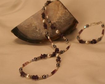 Fluorite, Amethyst and Pearl Set  (1017)