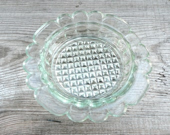 Vintage Round Glass Ashtray. Made in USSR. 1980 soviet era