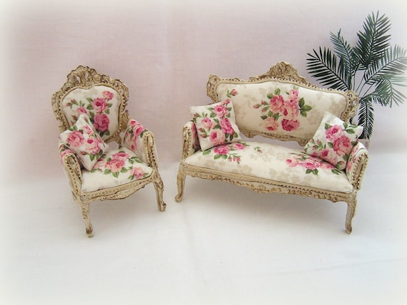 Dollhouse Miniature Shabby Chic French Sofa And Armchair