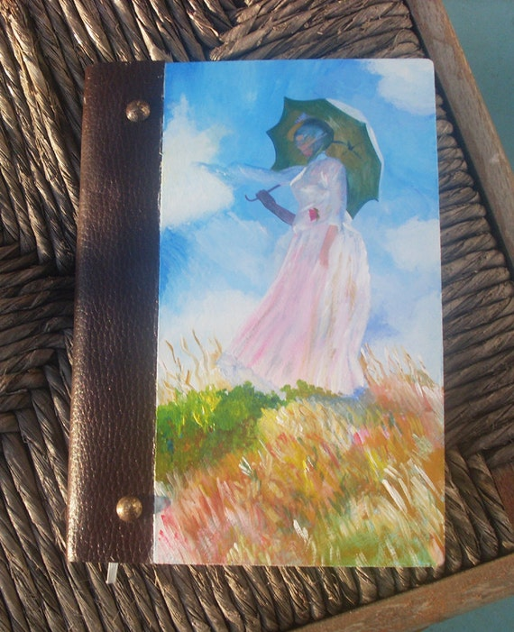 Notebook, Wooden Notebook, Custom Notebook, Journal Notebook, Writing Journal, Sketchbook, Custom Sketchbook, Woman with a parasol