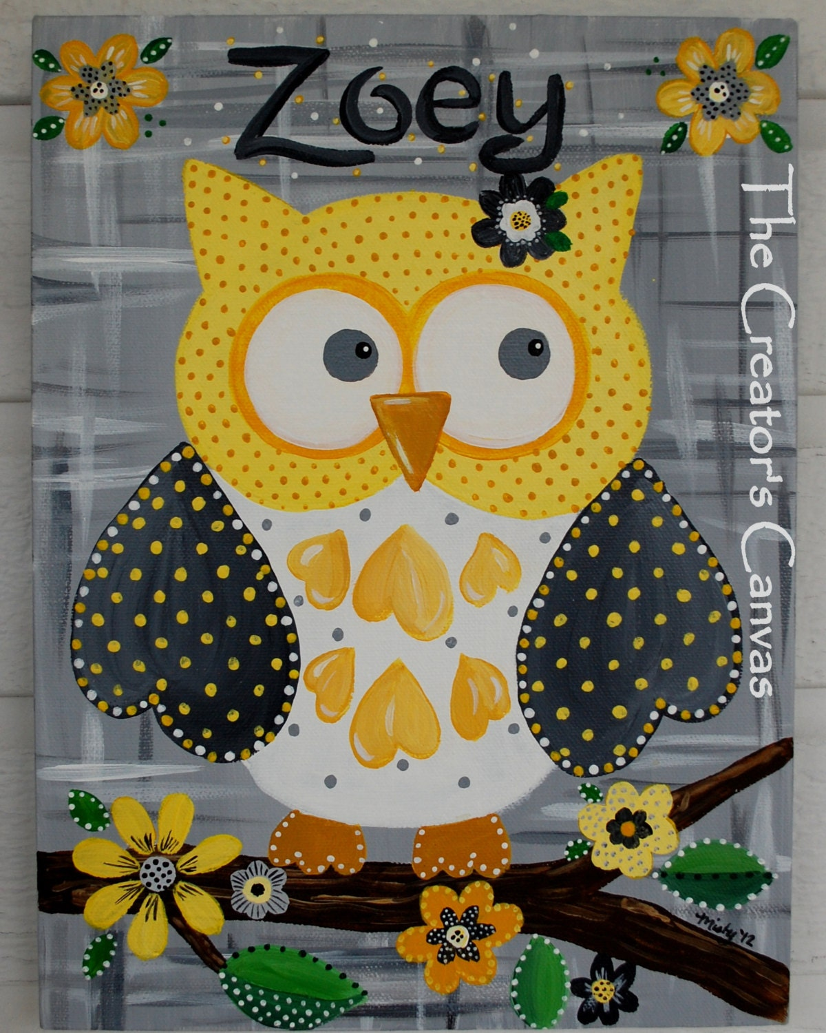 Owl girls room or nursery painting can customize colors and - Cute colors to paint your room ...
