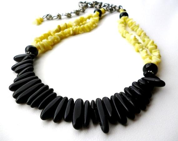 Black and Yellow Beaded Necklace - Onyx and Lemon Jade Gemstone Necklace - Gemstone Jewelry - Beadwork Jewelry - Big Skies Jewellery