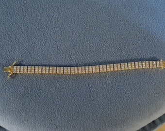 Vintage unique sterling silver gold 126  square cut white topaz  tennis bracelet    W