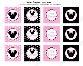 DIY Minnie Mouse Light Pink Cupcake Toppers