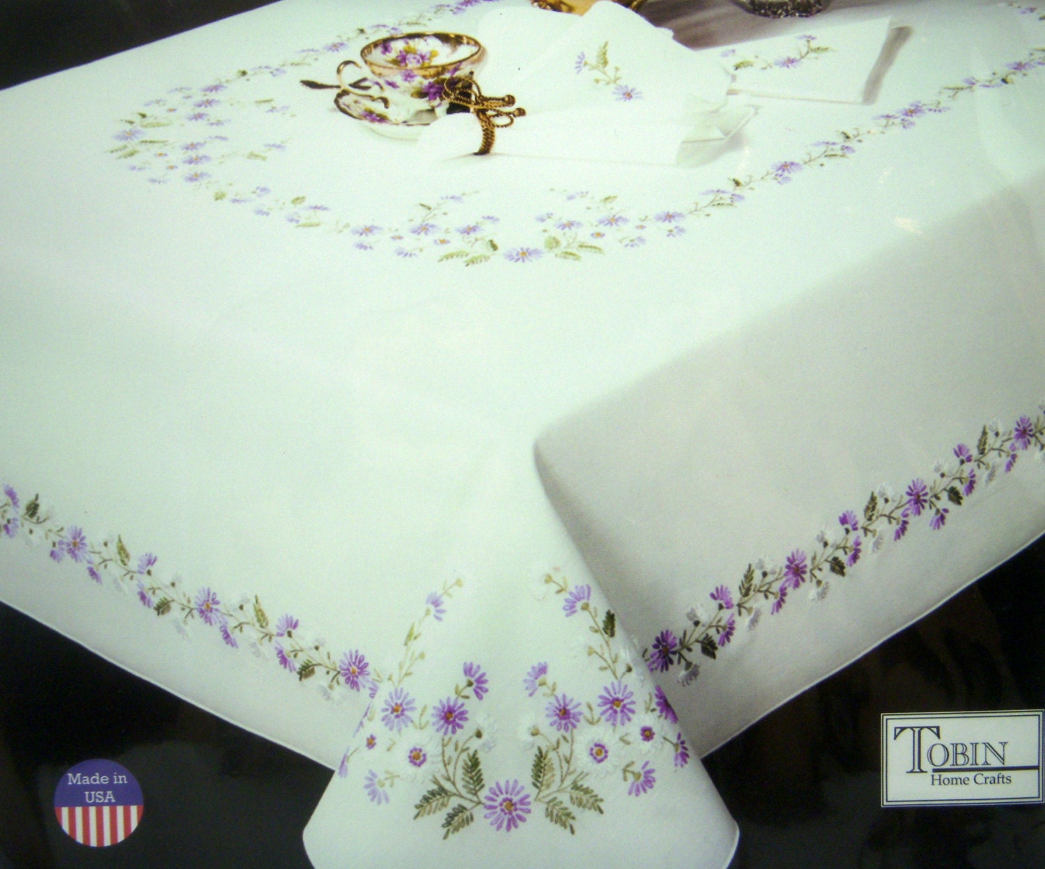CROSS STITCH Stamped Tablecloth Rhapsody Embroidery by CLGifts