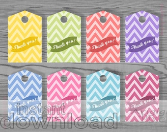 thank you gift tags - printable pastel tags - chevron tags - download - ready to print