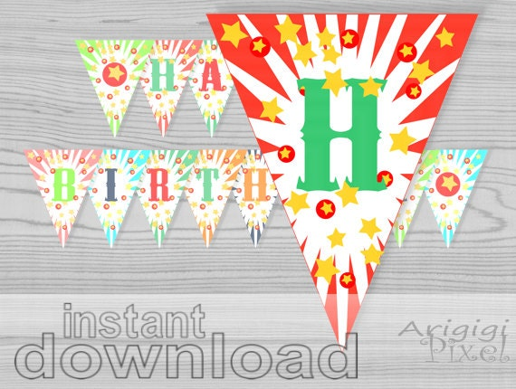 Circus Happy Birthday printable banner - instant download