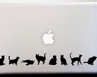 LAPTOP DECAL // Cat Silhouette Stripe Decal Meow Kitty Stickers CAR Decal
