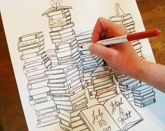 "Library Themed Wedding | Wedding Guest Book Alternative | Book Lovers | Custom Made | 11""x14"" 