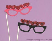 Bride and Groom Glasses Photo Booth Prop Set - Wedding Photobooth Props