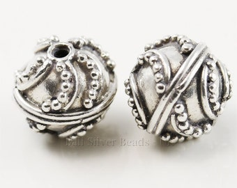 Two X 10 mm handmade Bali Sterling Silver Round Beads