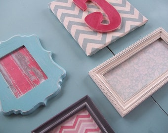 Custom Wall Collage, Set of Frames and Initial Canvas with Chevron Fabric, Home Decor, Wall Decoration
