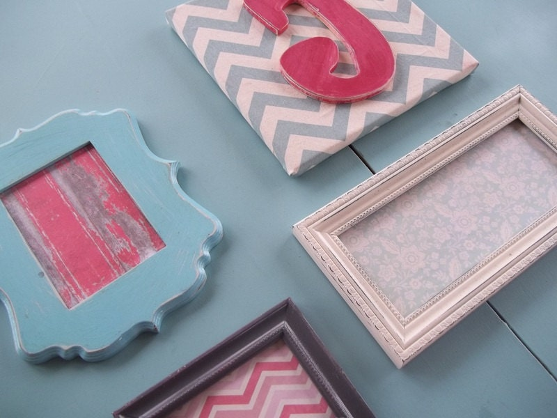 Custom wall collage set of frames and initial by for Handmade wall frames ideas