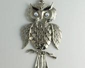 Owl Necklace Vintage Owl Pendant 1960's