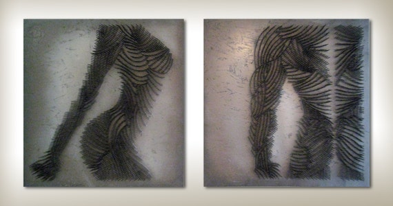 Contemporary Metal Nails Human Figure Composition Male And Female Figures Large Wall Sculpture Art