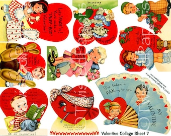 1940s-1950s Children's Classroom Valentine Clip Art & Greeting Cards. Vintage and Retro -- Instant Download Collage Sheet 007