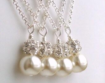 Set of 6, Bridesmaid Gift 6, Set of six 6 Ivory Bridesmaid Necklaces, Swarovski Pearl Bridesmaid gift, Bridesmaid jewelry, Wedding Party