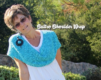 Sultro, the versatile shoulder wrap. Twist it, wrap it, easy knit! PATTERN