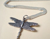 Dragonfly necklace silver charm, vintage retro kitsch style, antique silver