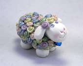 Springtime Lamb with Pink, Purple, Blue, Green and Yellow Pastel Wool