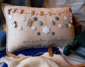 My Winter Clothesline Pillow (Cottage Style)