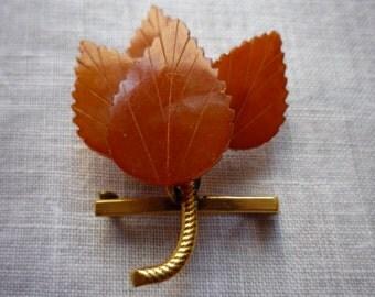 Vintage Baltic Amber Leaf Brooch/ Pin