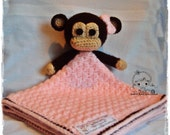"Monkey Security Blanket (Size 17"" by 17"") - PDF Crochet Pattern - Instant Download"