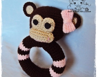 Monkey Rattle - PDF Crochet Pattern - Instant Download