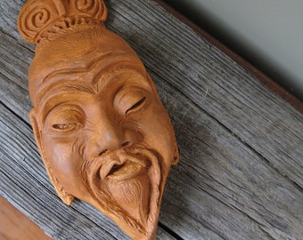 Asian Mask Wall Decor | Upcycled Vintage Chalkware Asian Face | The Face of Confucius | Upcycled Plaster Mask | Home Decor | Chinoiserie