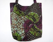 Purple and Green African Tote Bags