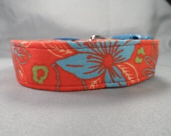 Turquoise Flowers on Orange Dog Collar