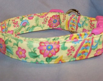 Bright Flowers and Paisley on Yellow Dog Collar