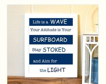 Boys art, surfing, boys room, nautical boy room art, teen room wall art, surf art, inspirational quotes
