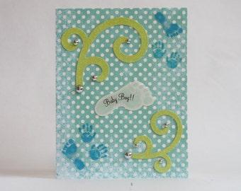 Teal and White Polka Dot Baby Boy Footprint Card