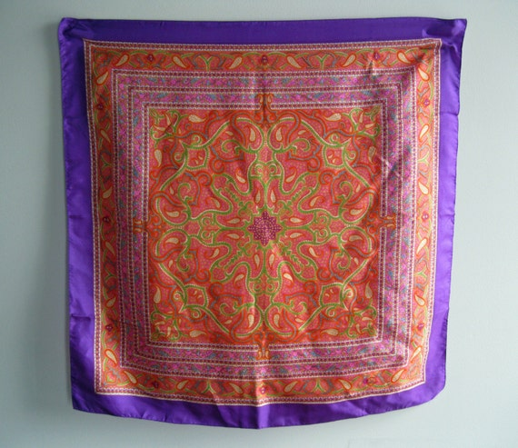 Vintage Psychedelic Graphic Abstract Silk Liberty of London Paisley Print Scarf in Purple, Pink, Orange and Green