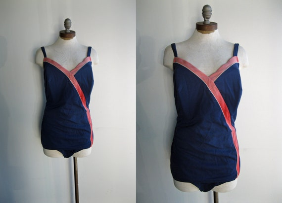 1950's Women's Navy and Pink Red Nautical One Piece Bathing Suit Large Plus Size